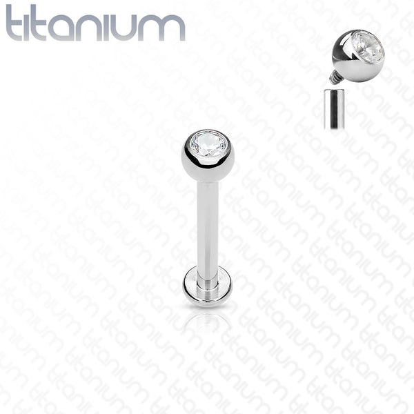 Internally Threaded Solid G23 Titanium Lip Ring with Jeweled Ball