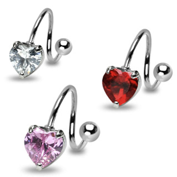 Heart Cubic Zirconia Prong Twist Belly Ring