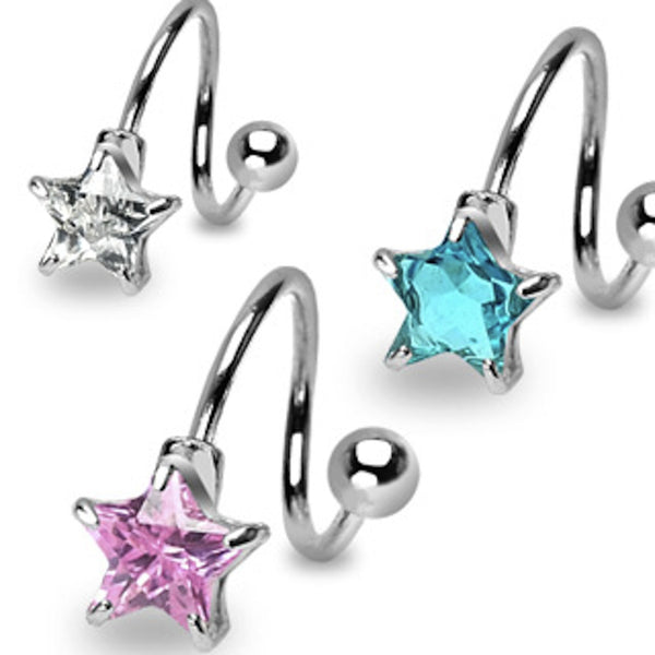 Star Cubic Zirconia Prong Twist Belly Ring