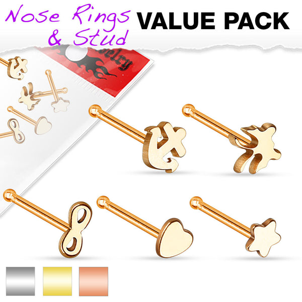5-Piece Nose Bone Ring Mix Value Pack