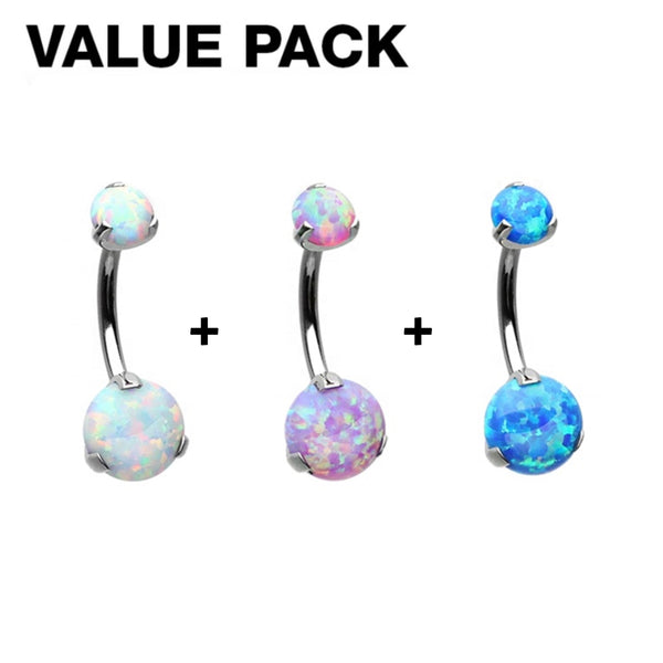 3-Piece Double Prong Opal Internally Threaded Belly Ring Value Pack