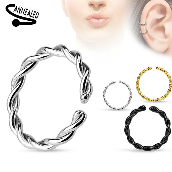 Annealed Braided Segment Ring Septum, Nose, Daith