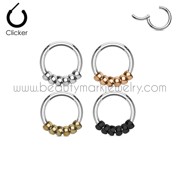 Surgical Steel Hinged Ring with Steel Beads