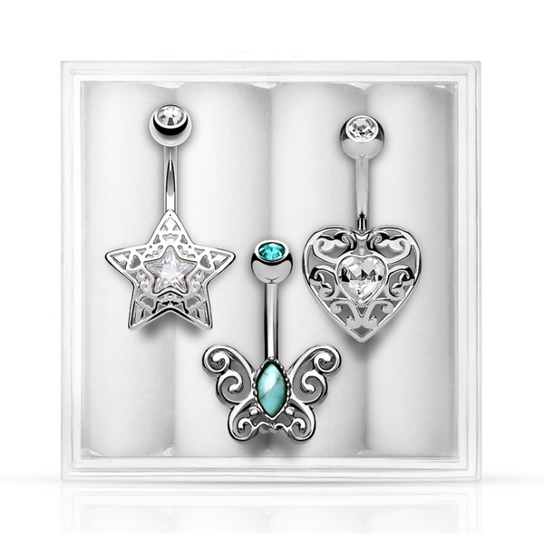 3-Pack Belly Ring Assortment #1