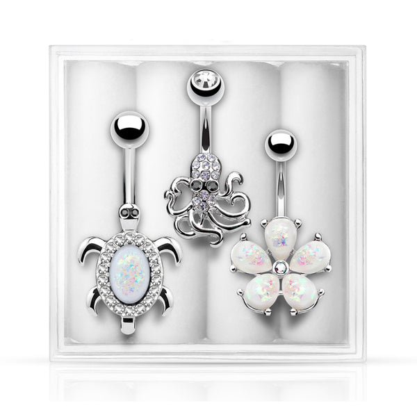 3-Pack Belly Ring Assortment #4