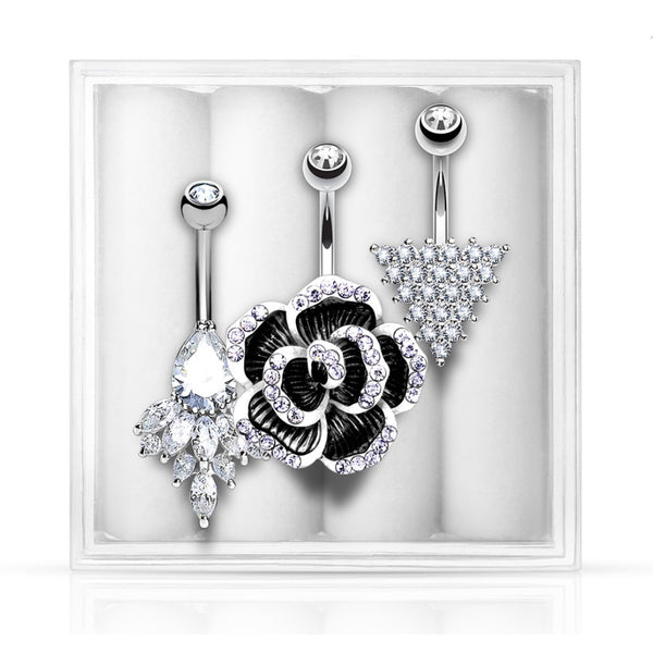 3-Pack Belly Ring Assortment #6