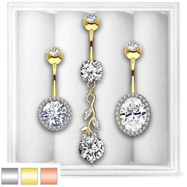 3-Pack Belly Ring Assortment #9