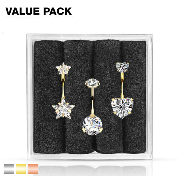 A 3 piece belly ring value pack. One non-dangle star gem on  the top and bottom, one non-dangle round gem on the top and bottom, and one one-dangle heart on the top and bottom. Comes in a clear gem box with black  insert.