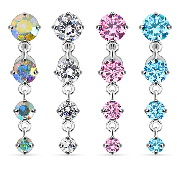 Vertical Drop Reverse Dangle Belly Button Ring