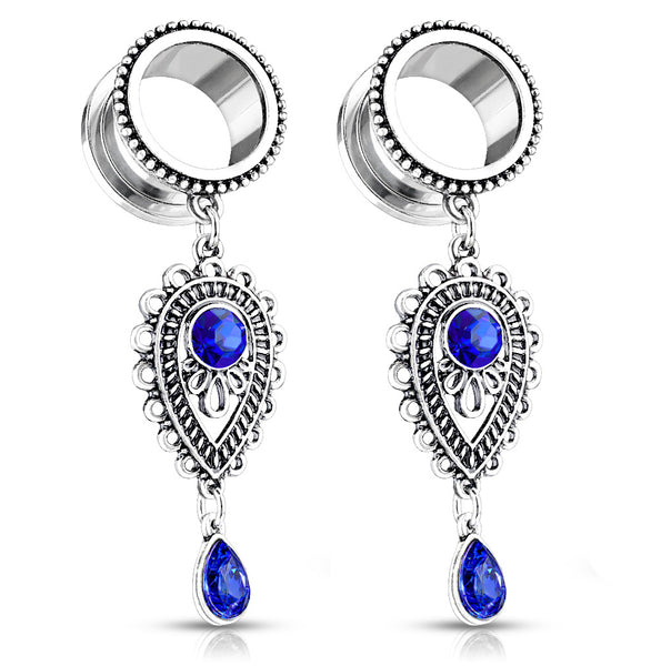 PAIR Blue Stone Teardrop Dangle Plugs
