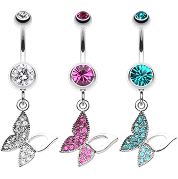 Sparkling Paved Gem Butterfly Belly Ring