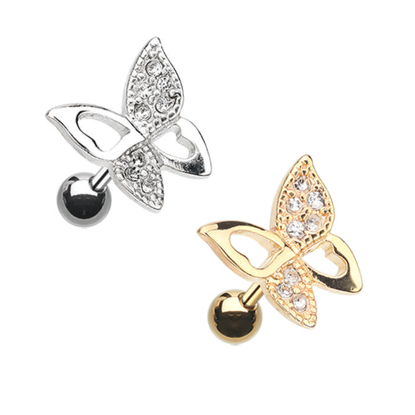 Sparkling Butterfly Paved Gem Butterfly Cartilage RIng