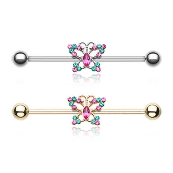 Butterfly Sparkle Industrial Barbell