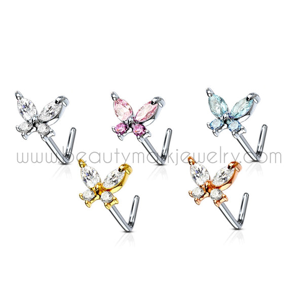 A butterfly L-bend nose ring made of 2 marquise gems and 2 round gems. Shown in clear gems, pink gems,, aqua gems, clear gems with gold plating, and clear gems with rose gold plating.