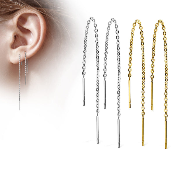 Pair of threader chain earrings. Model ear on left followed by steel pair and gold pair