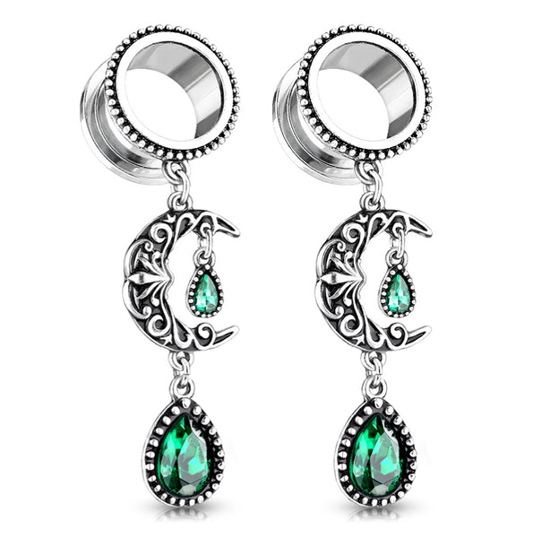 PAIR Crescent Moon & Emerald Stone Dangle Plugs