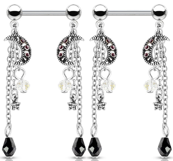 PAIR Moon and Bead Chain Dangle Nipple Rings