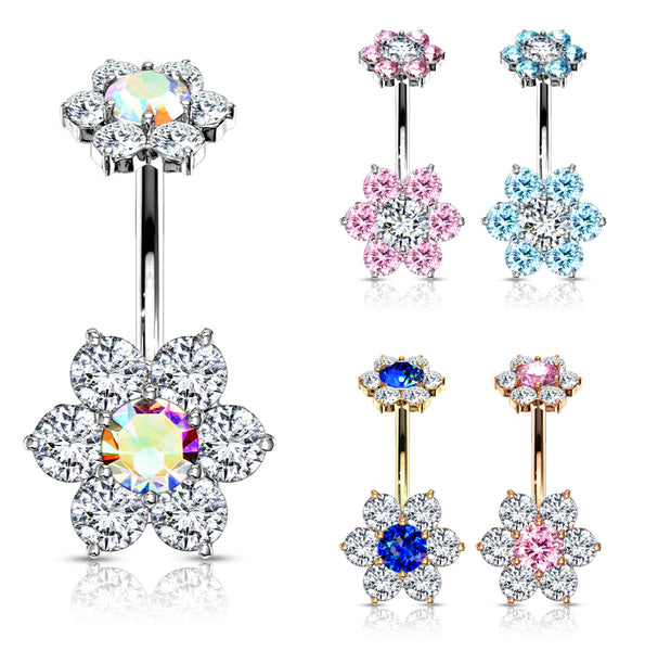 Double Flower Internally Threaded Belly Button Ring