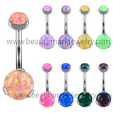 Double Prong Opal Internally Threaded Belly Ring