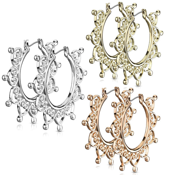 PAIR Heart Filigree Hoop Earrings