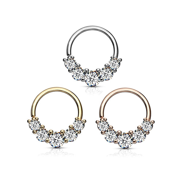 Five Tiered Gems Bendable Hoop Ring