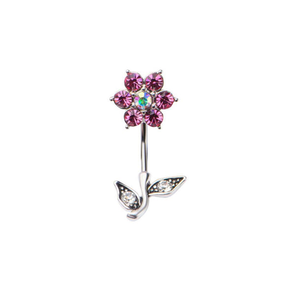 Pink Flower Petal Belly Ring