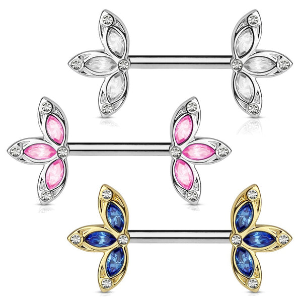 PAIR Flower Petal Crystal Nipple Rings