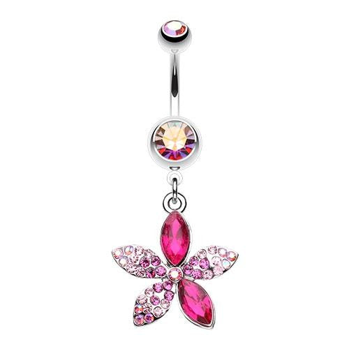 Radiant Spring Flower Dangle Belly Button Ring