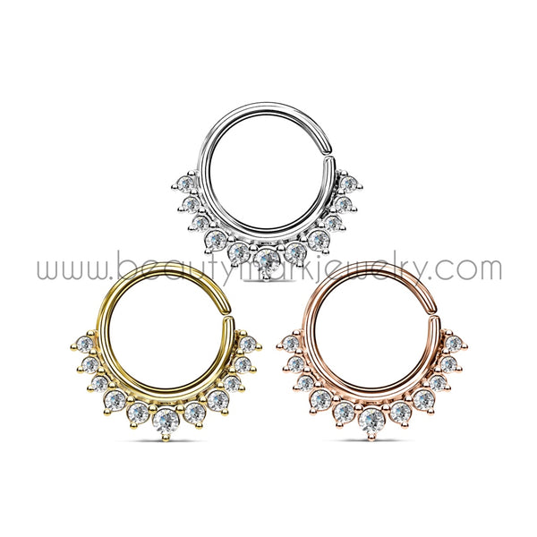 crystal gems bendable septum nose hoop ring