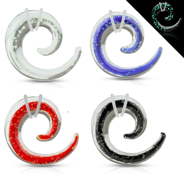 Pair glass spiral tapers with glow in the dark specks