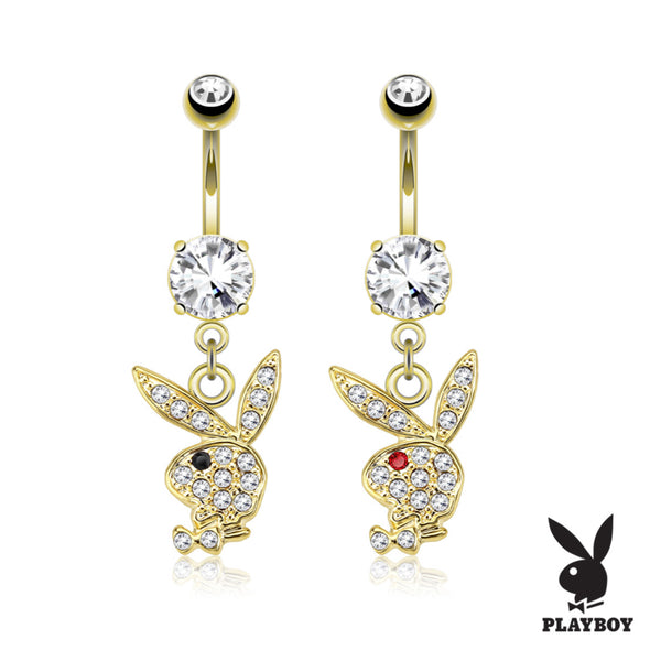 Gold Playboy Bunny Dangle Belly Ring