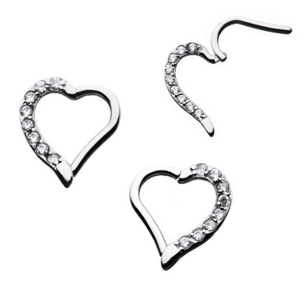 Clear Gem Heart Surgical Steel Hinged Ring