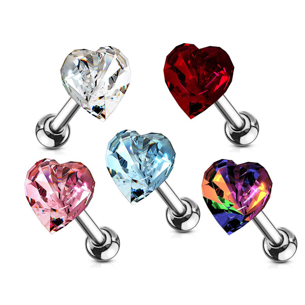 Heart Crystal Top Cartilage/Tragus Ring