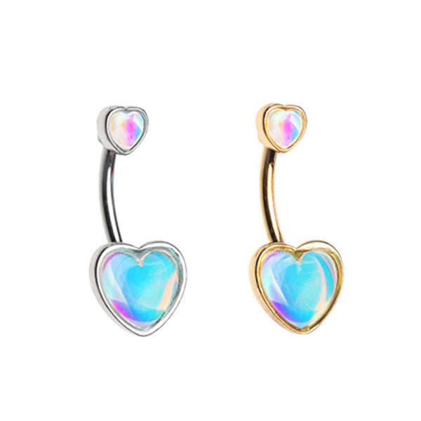 Illuminating Double Heart Belly Button Ring