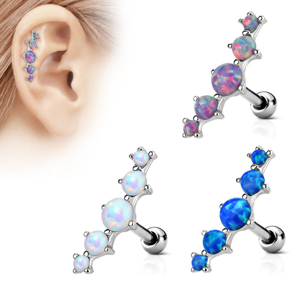 Five Opal Stone Cartilage/Tragus Ring 16g