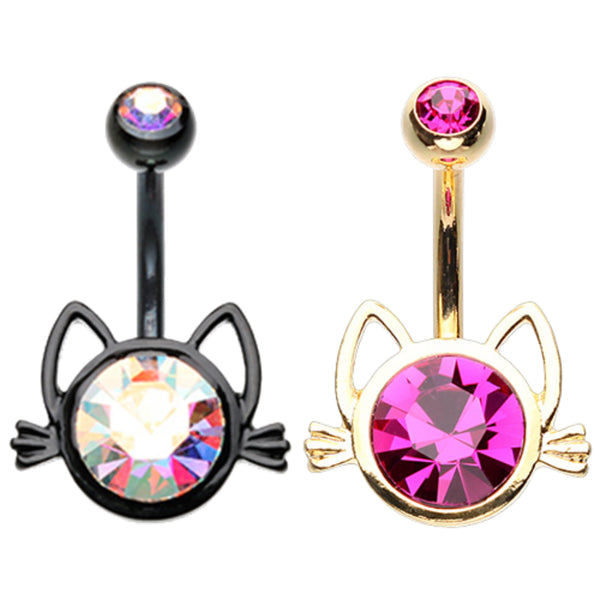 Kitty Cat Face Belly Button Ring
