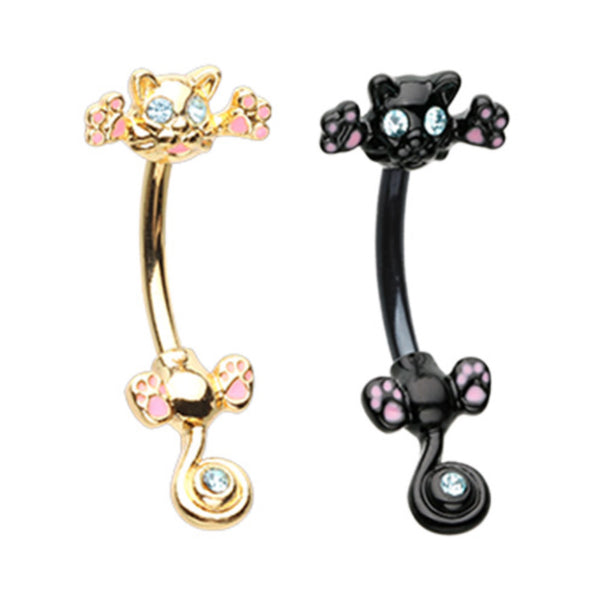 kitty cat belly button ring