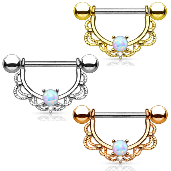 PAIR Lacey Opal Filigree Shield Nipple Ring Barbells