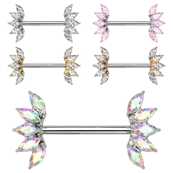 PAIR Marquise Gem Fan Nipple Rings