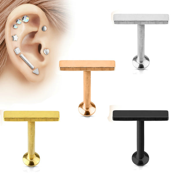 Medium Bar Top Internally Threaded Cartilage/Tragus Ring
