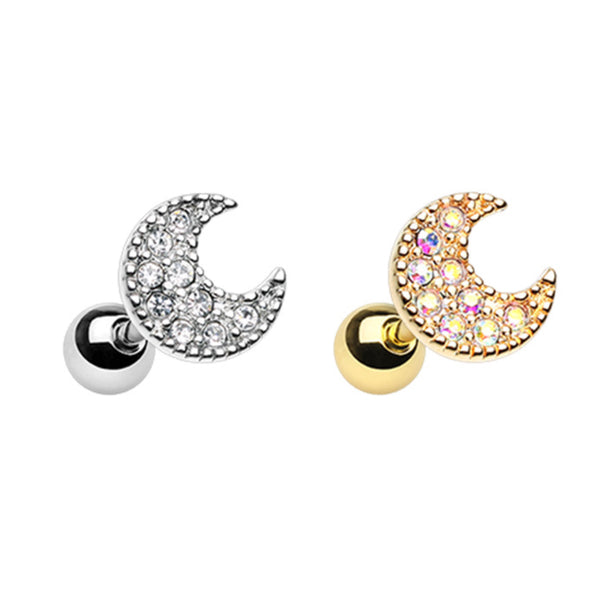 Crescent Moon and Gems Cartilage Ring