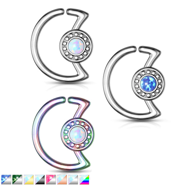 Opal Glitter Crescent Moon Bendable Daith Ring