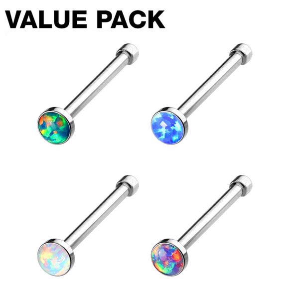 4-Piece Opal Nose Ring Value Pack