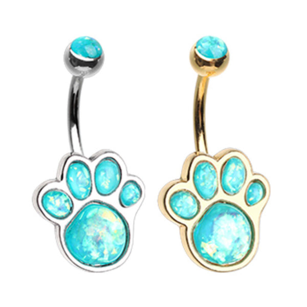 Opal Paw Print Belly Button Ring