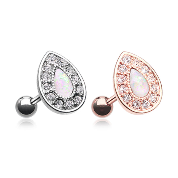 Teardrop shaped cartilage ring with an opal center and  clear gems around. Shown in steel and rose gold.