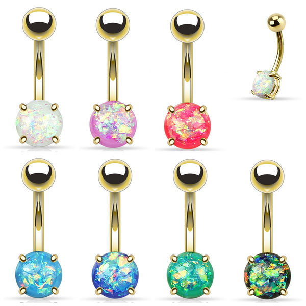 Gold Opal Glitter Belly Button Ring 14g