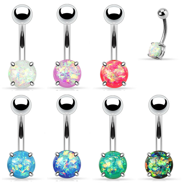 surgical steel opal belly button ring