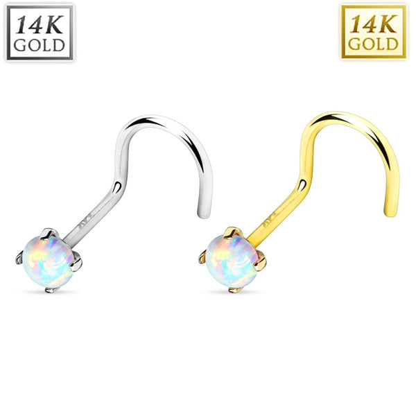 14k White Opal Nose Screw Ring Gold with Marking 20g