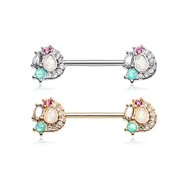 PAIR Teardrop Opal Gem Medley Nipple Rings