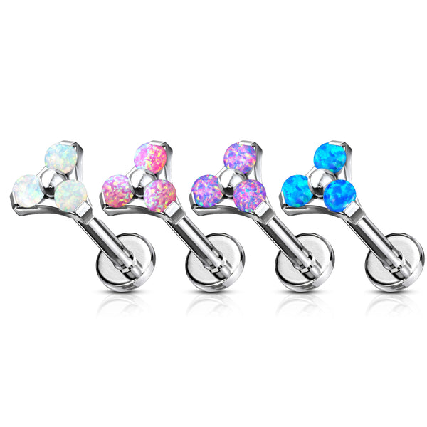 Opal Triple Prong Internally Threaded Lip Ring